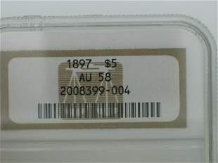 1897 $5, AU 58, Liberty, NGC-58