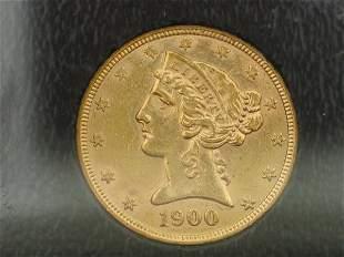 1900 $5 Liberty, NGC-55