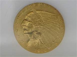 1910 $2.5 Indian, AU58, NGC
