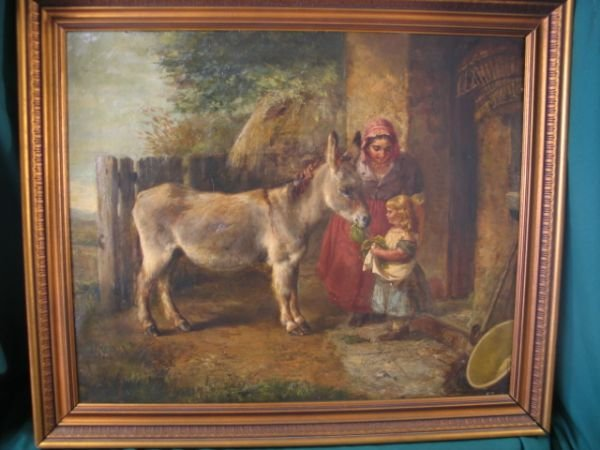 181: mother and child feeding donkey oil on canvas 19th