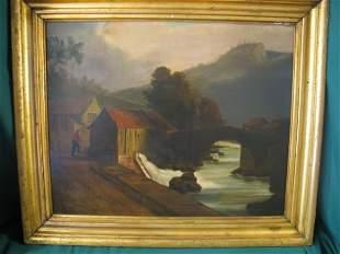 """Old Mill"" oil on board, 20""X24"", Artist J. Cr"