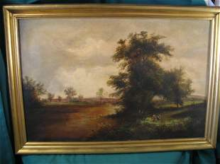 """Landscape with Children (School of Turner)"" Oil"