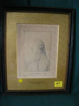 """Joseph Bushman"" pencil sketch with glass, 4""X"