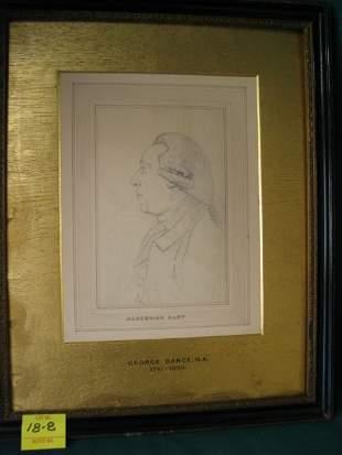 """Alderman Hart"", pencil sketch, 4""X6"", artist"
