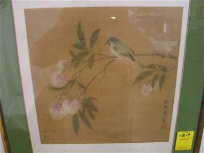 189: Japanese birds flowers watercolor / silk ? 12 x12