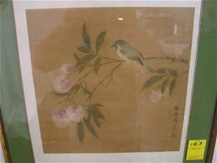 Japanese birds flowers watercolor / silk ? 12 x12