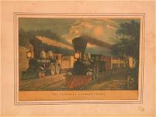 52 Currier  Ives  Lithograph Leaving the Junction