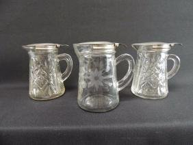 Group of 3 Antique EAPG and Etched Glass Syrups