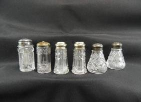 Group of 6 Cut/Pressed Glass Salt and Peppers