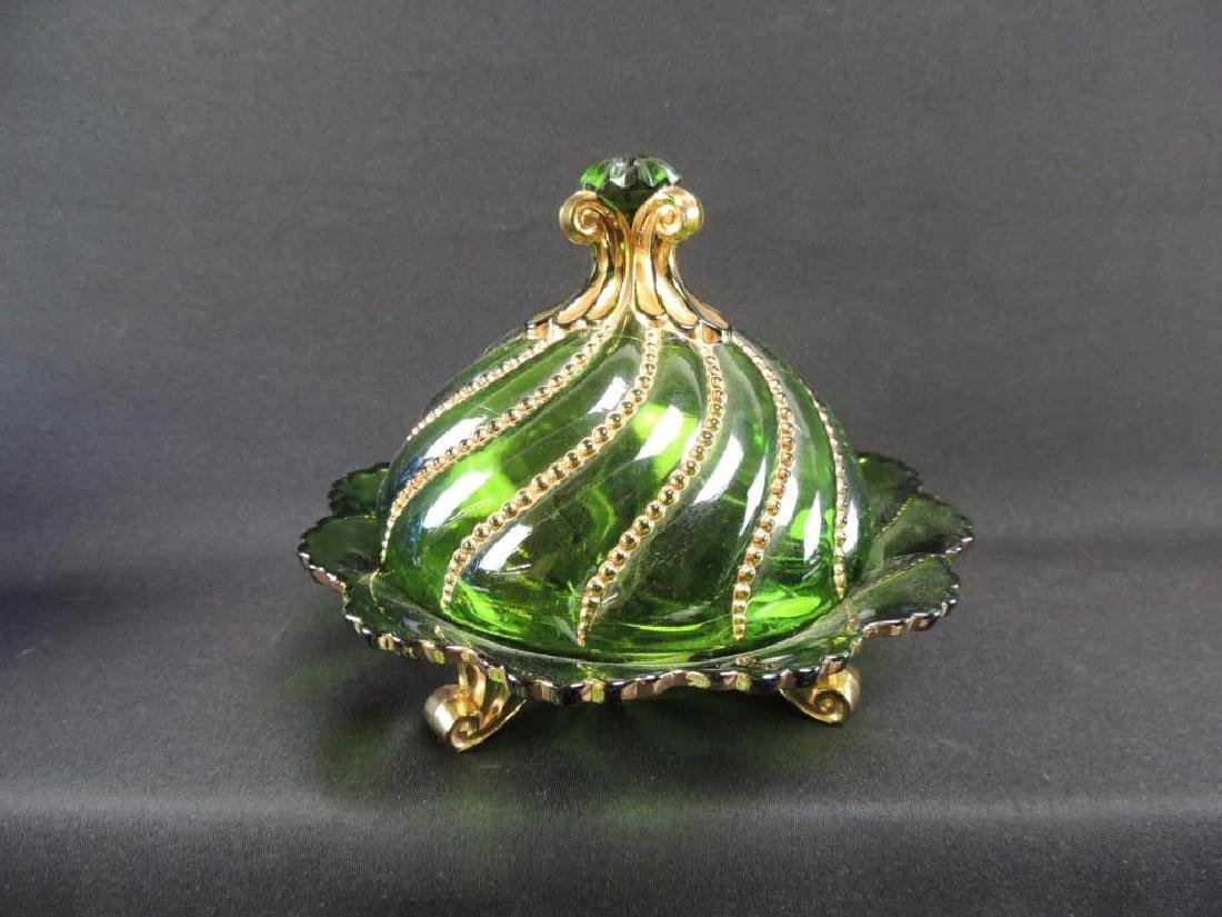 George Duncan Beaded Swirl Green with Cold Covered