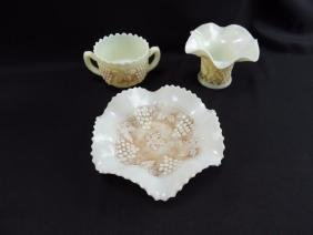 Group of 3 Northwood's Grape and Cable Custard Glass