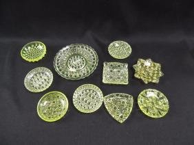 Group of 10 Antique Vaseline Glass Butter Pats