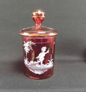 Antique Cranberry Glass Dresser Jar with Enameled Paint