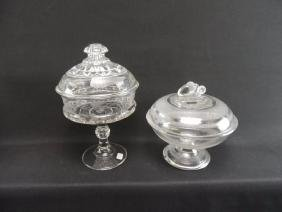 Group of 2 EAPG and Etched Glass Compotes