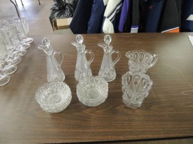 Group of 13 Antique Peacock Feather EAPG Creamer,