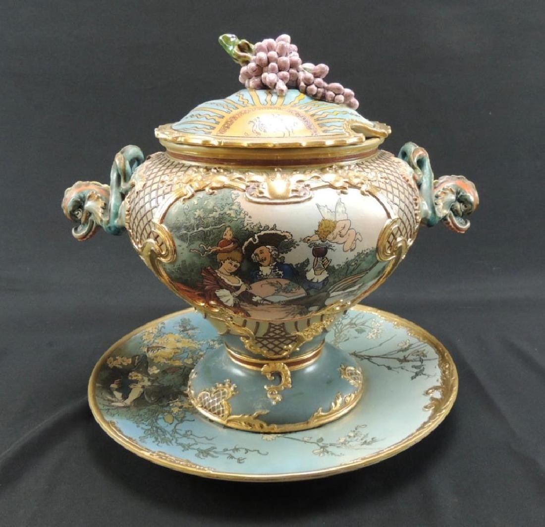Mettlach 9L Punch bowl by H. Schlitt with matching