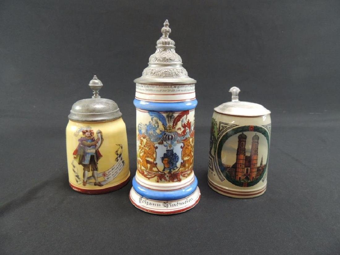 Group of three antique steins featuring occupational