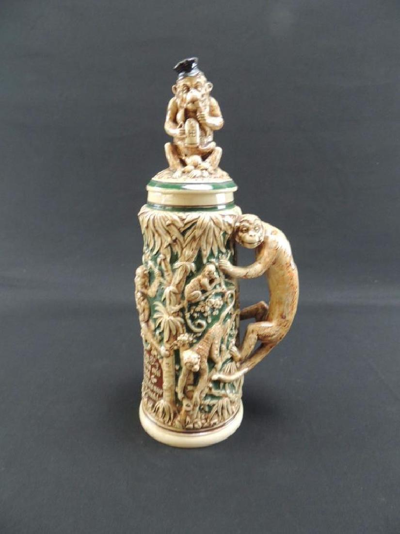 Antique 2 1/2 L pottery monkey stein