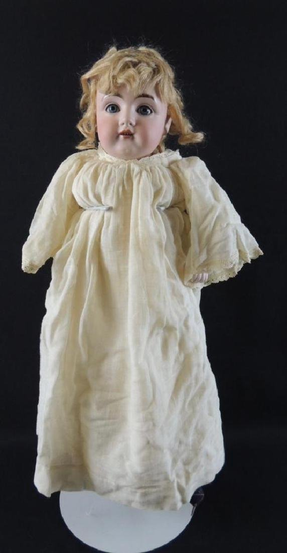 Antique Bisque Doll with Tan Dress