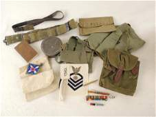 Group of U.S. Military Items Featuring Pouches, Saddle