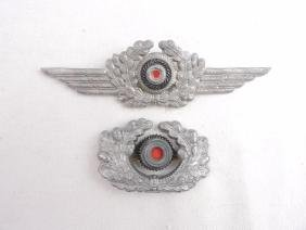 Group of 2 WW2 German Army Officer Visor Insignia