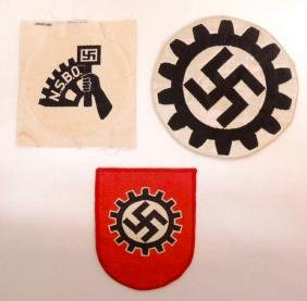 Group of 3 WW2 German DAF and NSBO Sport Shirt Insignia