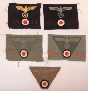 Group of 5 WW2 German Army EM Cap Eagle, Cockade, and
