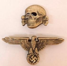 Group of 2 WW2 German SS Visor Cap Insignia and Eagle