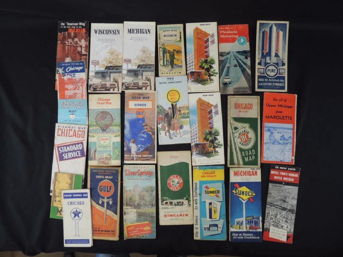Group of 24 Vintage Road Maps