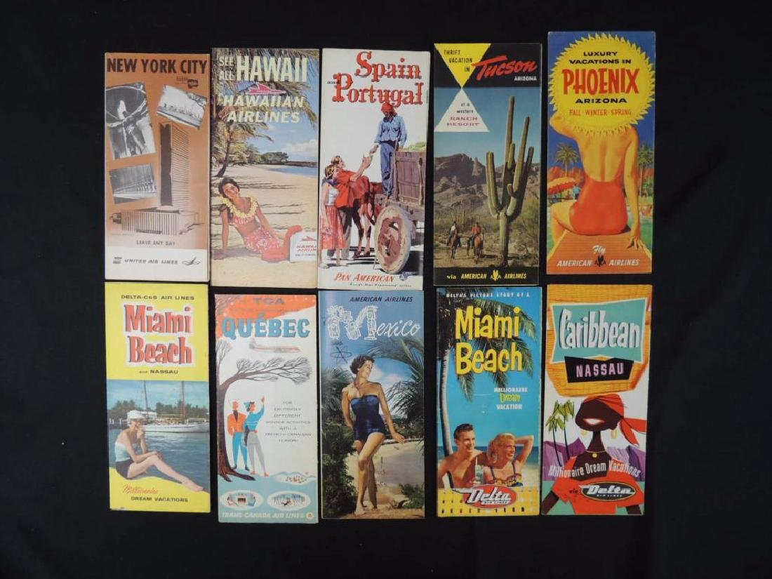 Group of 10 Vintage Travel Maps Featuring Airlines