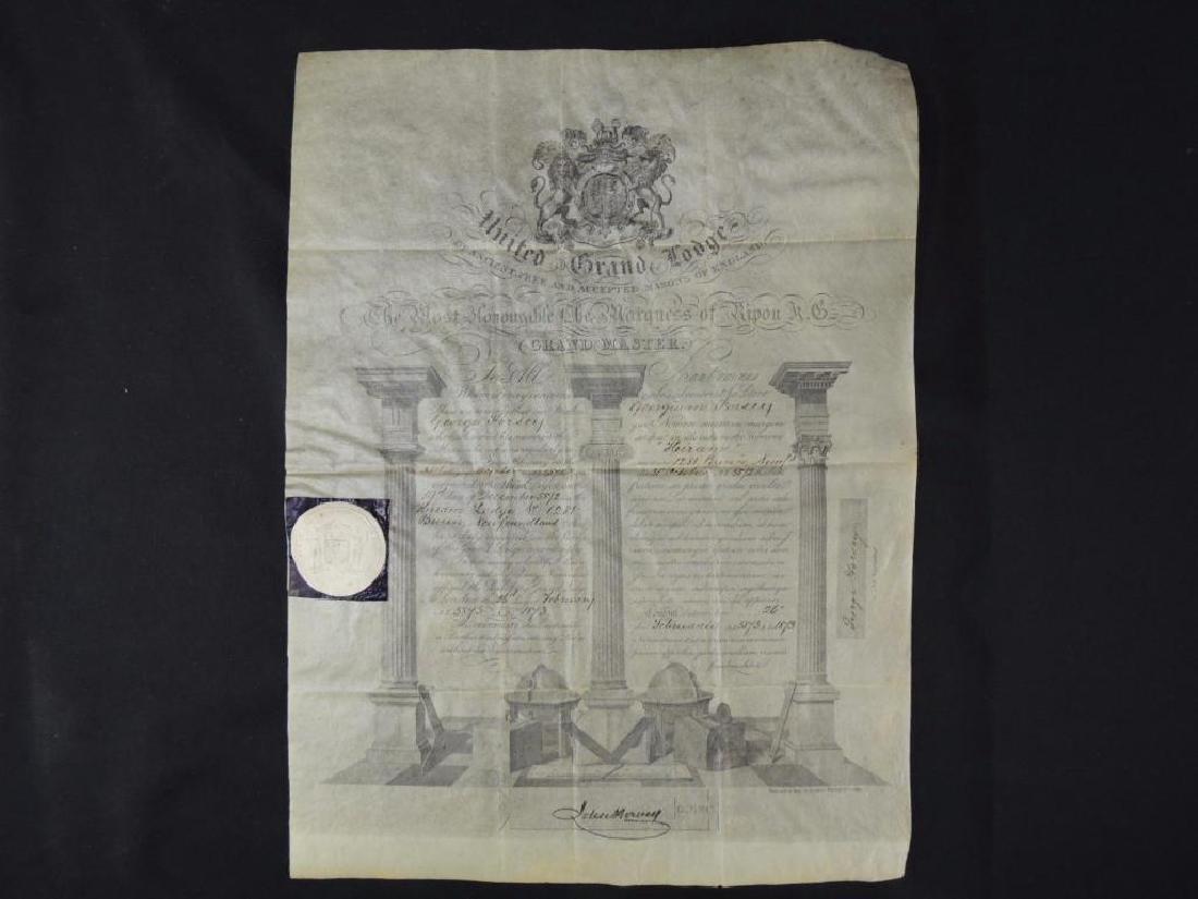 1873 United Grand Lodge Grand Master Document
