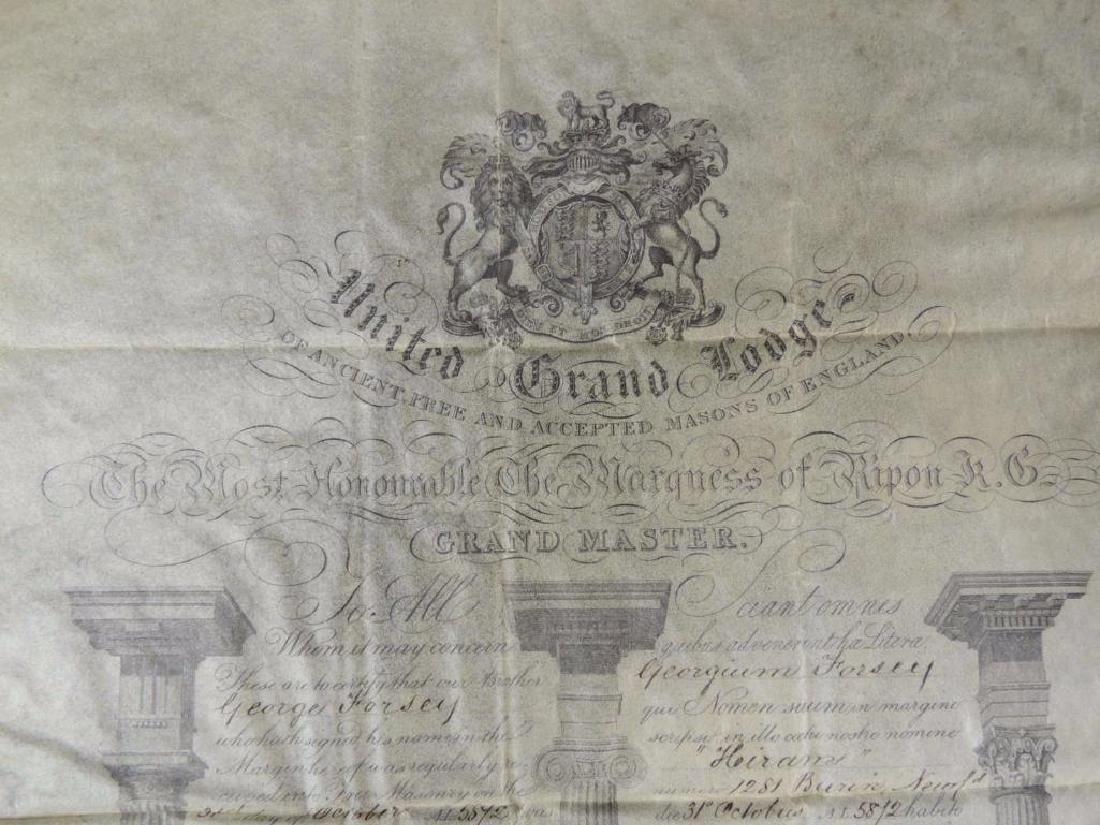 1873 United Grand Lodge Grand Master Document - 2