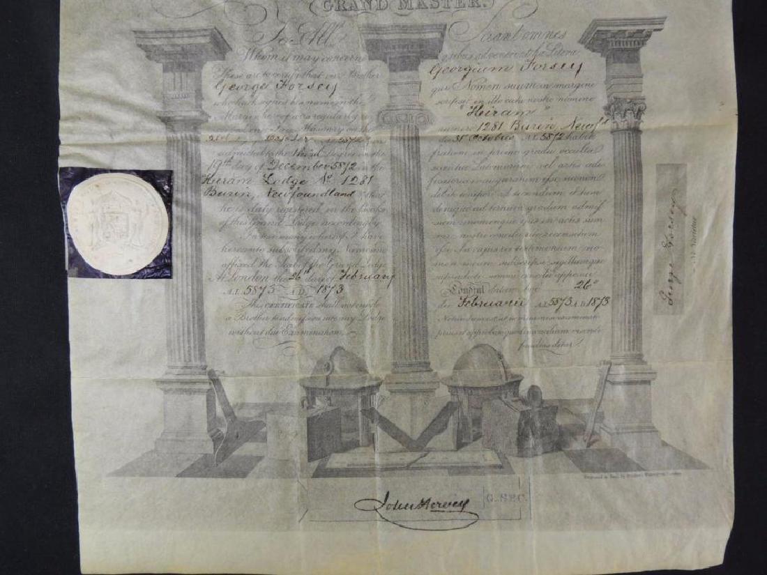 1873 United Grand Lodge Grand Master Document - 3