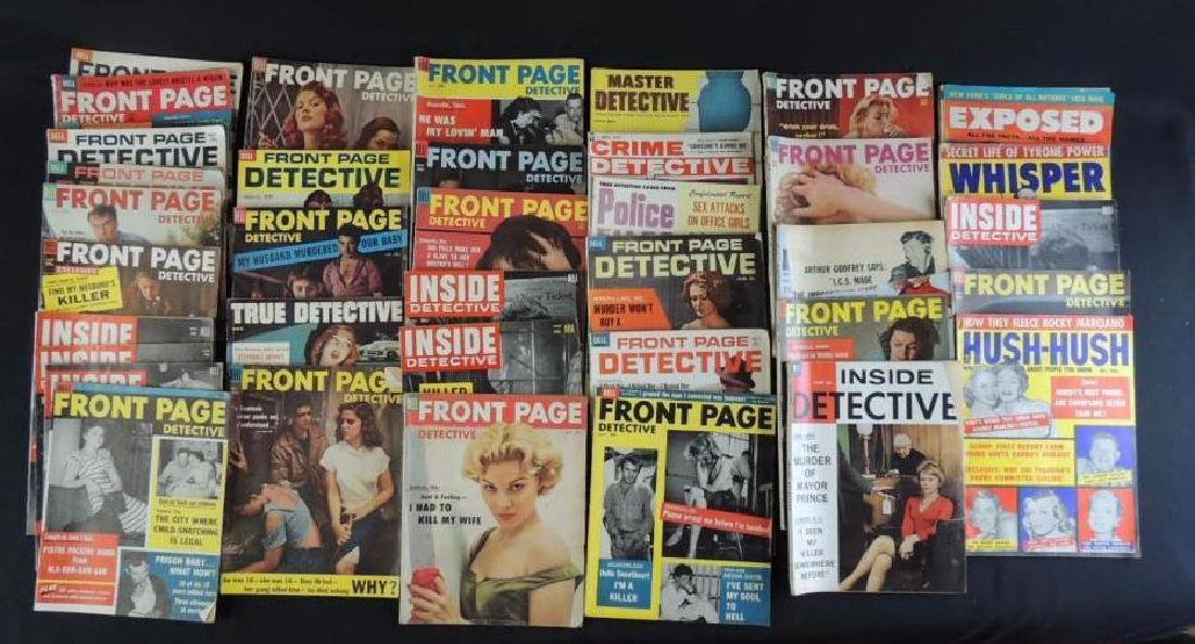 Group of 38 Vintage Front Page Detective and Inside