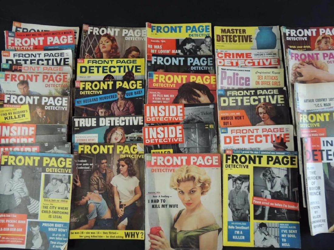Group of 38 Vintage Front Page Detective and Inside - 3