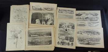 Group of Harpers Weekly Civil War Era Pages and Prints