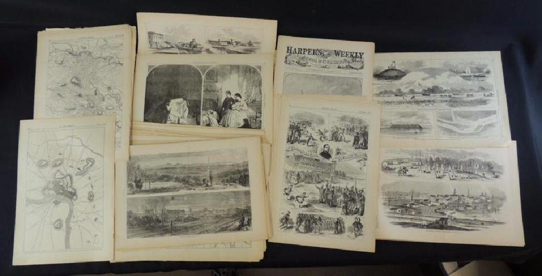 Group of Harpers Weekly Civil War Era Pages and Prints - 2