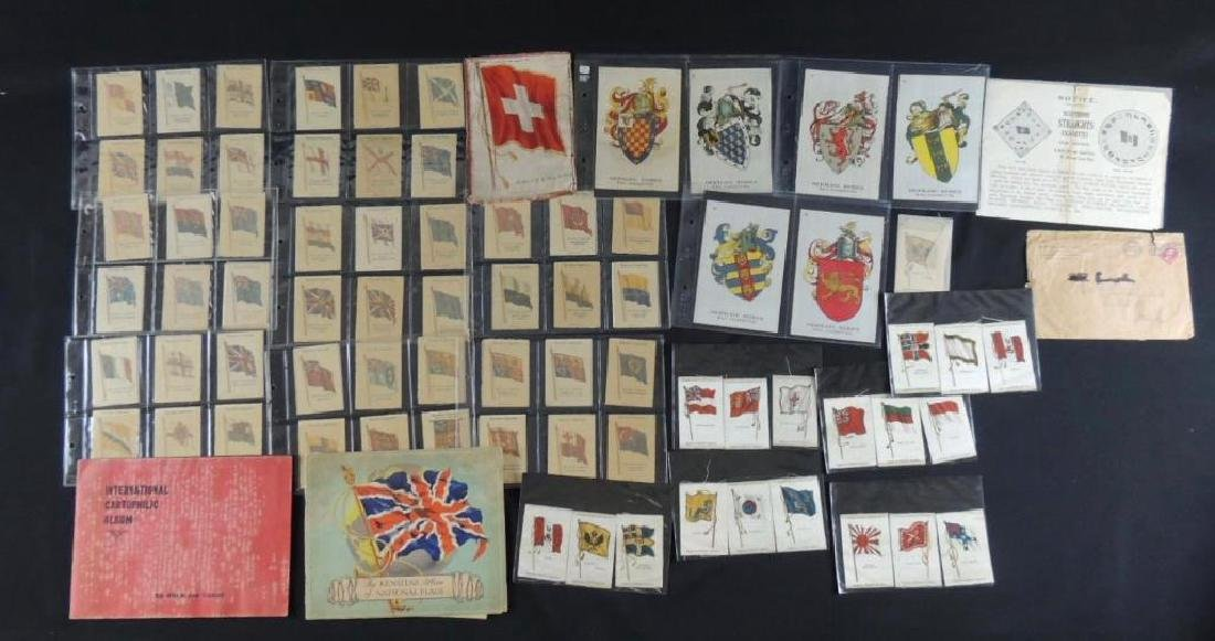 Group of National Flag Silk Cigarette Cards and Albums