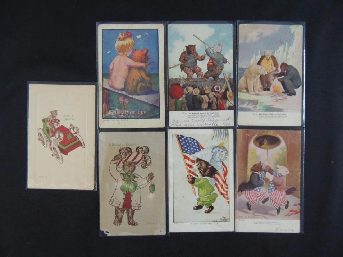 Group of 7 Teddy Roosevelt and Teddy Bear Postcards