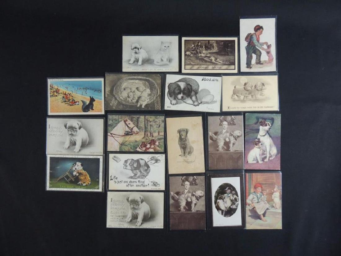 Group of 18 Postcards Featuring Dogs