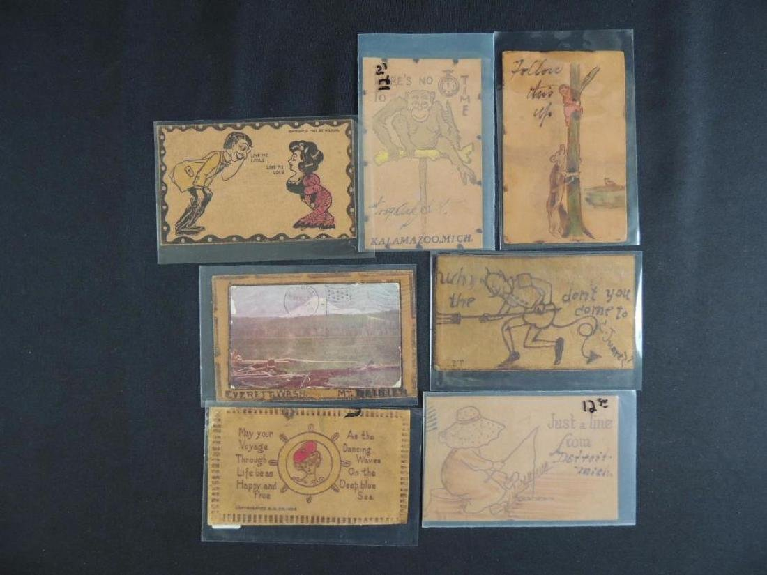 Group of 7 Leather Postcards