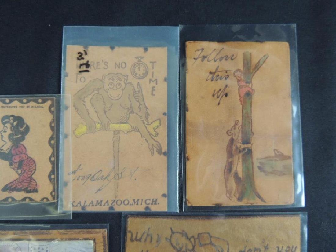 Group of 7 Leather Postcards - 2