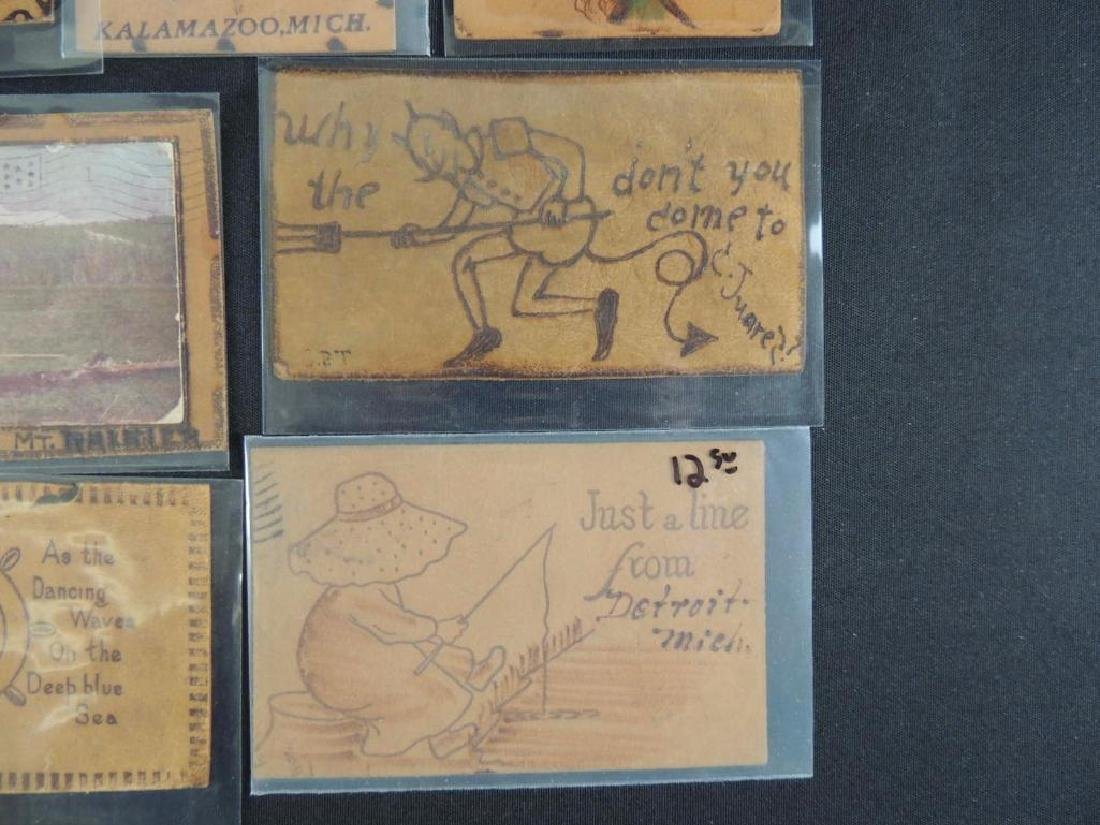 Group of 7 Leather Postcards - 3
