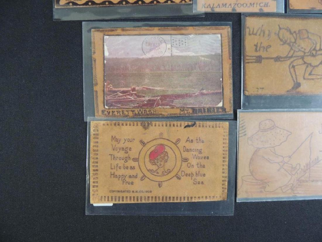 Group of 7 Leather Postcards - 4