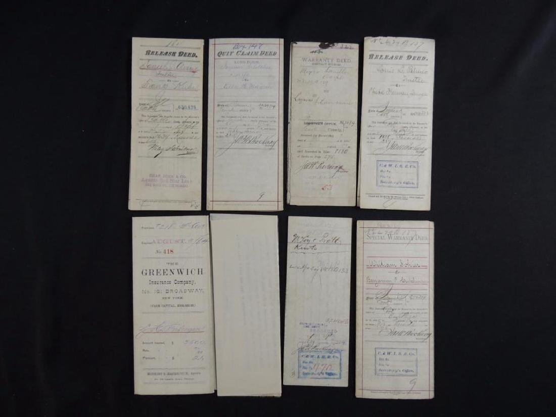 Group of 8 Chicago Deeds and Documents Circa 1880's