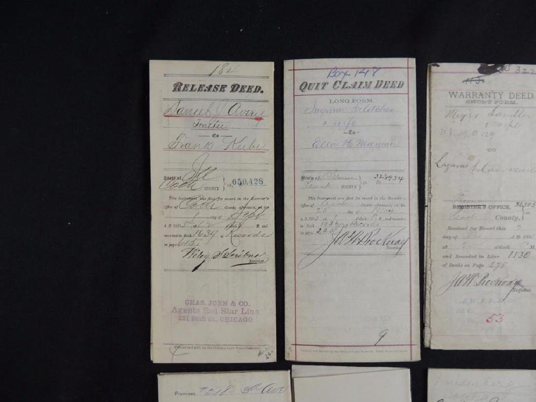 Group of 8 Chicago Deeds and Documents Circa 1880's - 2