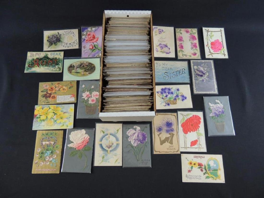 Approximately 700 Plus Best Wishes & Greeting Postcards