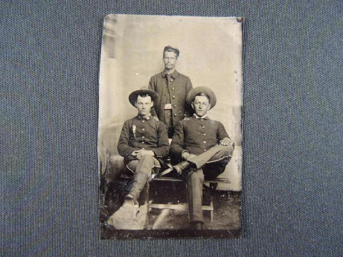 Antique Indian Wars 6th Plate Tintype Featuring 3