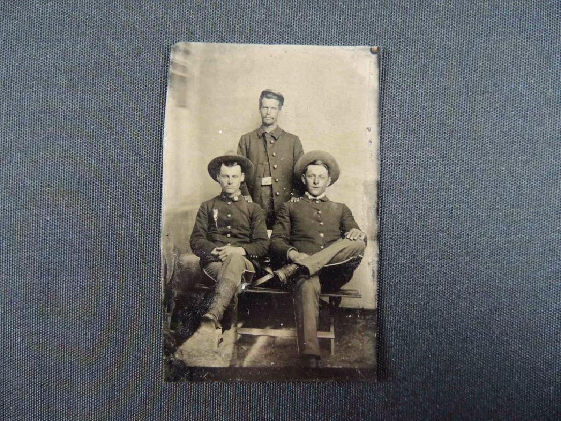 Antique Indian Wars 6th Plate Tintype Featuring 3 - 3