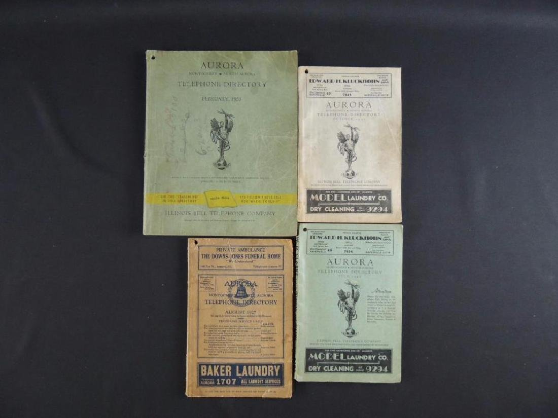 Group of 4 Antique Aurora Ill. Telephone Directories